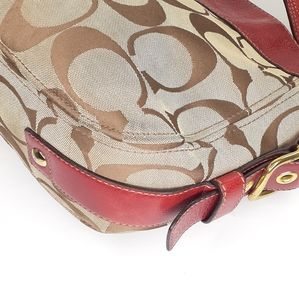 Coach Bags - Coach Zoe Signature Canvas Hobo Red AS IS Purse